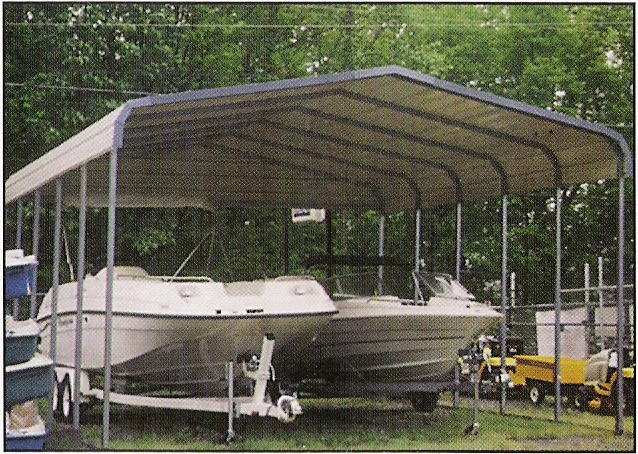 Bass Boat Shelters : Metal boat carports pontoon cover custom